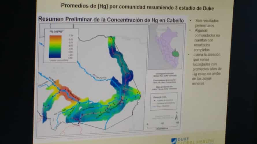 """According to US-based scientists, the people living upriver from gold-mining in Peru's Madre de Dios region are the most contaminated by mercury. The worst-affected areas are shaded in red, the second-worst in orange, the third worst yellow. """"µg/kg"""" should read """"mg/kg."""""""