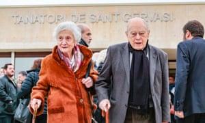 Jordi Pujol (R) and Marta Ferrusola Llados attend a funeral i . February