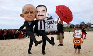 Protesters wearing masks depicting Malcolm Turnbull and Gautam Adani at Sydney's Bondi beach