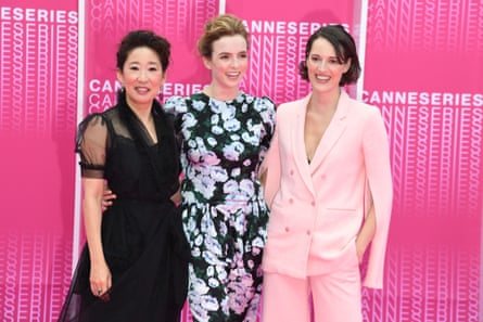 Phoebe Waller-Bridge (right), creator of Fleabag and Killing Eve's scriptwriter, with Sandra Oh (left) and Jodie Comer.