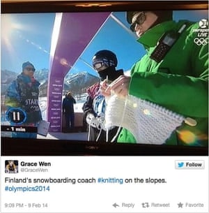Finland's Antti Koskinen spotted knitting in Sochi in 2014