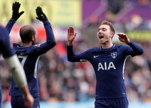 Eriksen celebrates making it 3-0 to Spurs