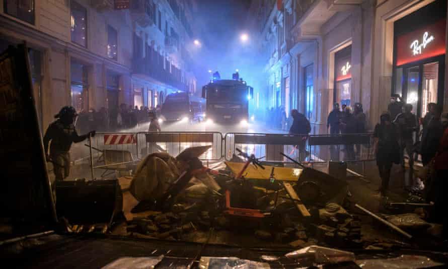 Police storm a barricade