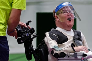 Philip Jonsson of Sweden reacts after winning gold and setting a new Paralympic record in the mixed 10m air rifle standing SH2 final.