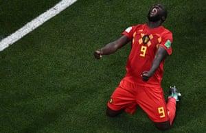 Romelu Lukaku celebrates after Belgium's 3-2 win over Japan in the last 16.