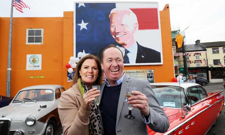 Joe Blewitt, a cousin of Joe Biden, and his wife, Deirdre, celebrate in Biden's ancestral home of Ballina, County Mayo, Ireland.