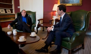 Greece's new finance minister Yanis Varoufakis meeting George Osborne at 11 Downing Street today.
