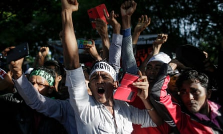 Myanmar ethnic Rohingya Muslims protest in Kuala Lumpur, Malaysia, on Sunday over the violence in Rakhine state.