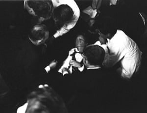 Kennedy falls after being shot at the Ambassador hotel