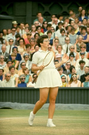 """Billie Jean King became known for her horn-rim glasses but it was the dress she wore (in 1973) to beat Bobby Riggs in the """"Battle of the Sexes"""" that found its way into the Smithsonian. Tinling, who designed it, was worried it would get lost in the stadium setting, so he stitched rhinestones and sequins on to it at the last minute."""