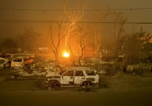 Burned out vehicles and homes scorched by the fire line Wardlaw Street in Middletown