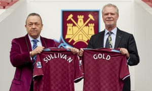 David Sullivan and David Gold pictured after their joint takeover of West Ham in 2010. 'We're not in it for a quick buck,' Sullivan says.