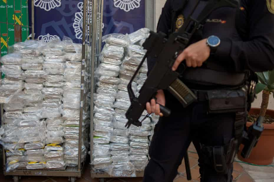 Cocaine packages on display in Málaga after being seized by Spanish police in 2018.