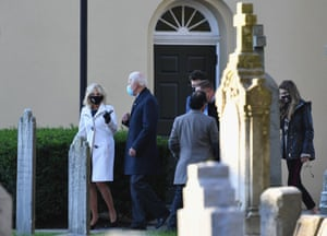 Democratic presidential candidate Joe Biden (C) and his wife Jill Biden leave St. Joseph on the Brandywine Roman Catholic Church in Wilmington, Delaware.