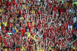 It's not Jamie Vardy who's having a party it's the Belgium fans