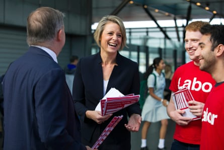 Kristina Keneally, Labor candidate for the Bennelong byelection, hands out election material in Epping on Friday