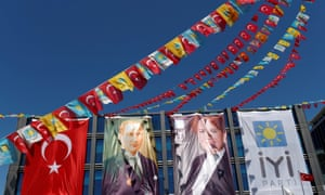 Campaign posters for Akşener outside party headquarters in Ankara