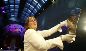 Dr Monica Grady of the Natural History Museum, part of the Beagle project, holding a piece of a meteorite