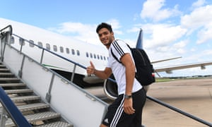 Raúl Jiménez of Wolves boards the plane to travel to Armenia for the Europa League game against FC Pyunikon in Armenia.