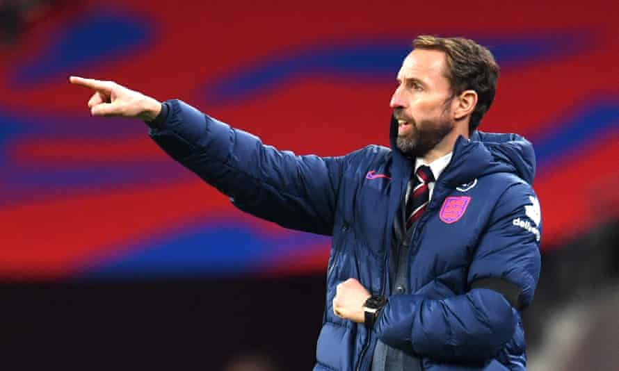 Gareth Southgate watches England in their 3-0 friendly win over Wales at Wembley.