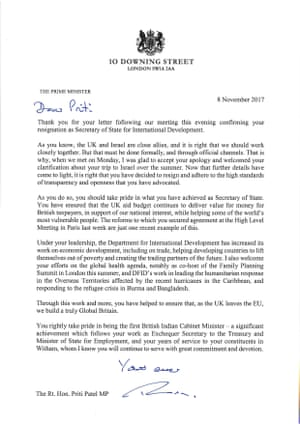 Priti Patel\'s resignation letter and Theresa May\'s response – in ...