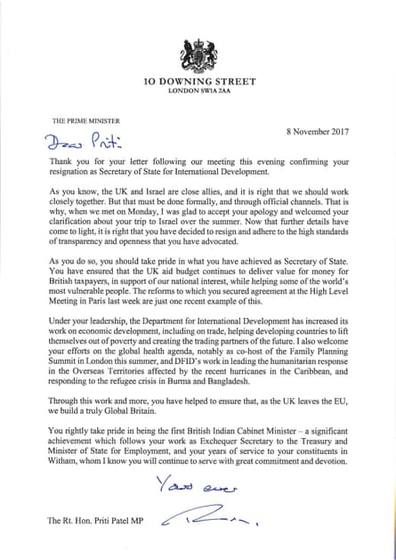 Theresa May's letter to Priti Patel.