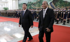 China's President Xi Jinping and Kiribati's President Taneti Maamau at the Great Hall of the People in Beijing in January, following Kiribati's decision to switch diplomatic allegiance from Taiwan to China.