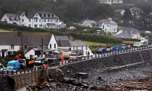The cleanup operation after flooding in the village of Coverack in Cornwall
