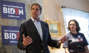 Former secretary of state John Kerry speaks to supporters of Democratic presidential candidate Joe Biden in Hampton, New Hampshire in January 2020