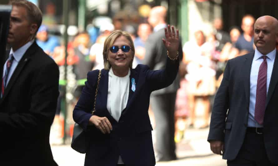 Hillary Clinton after leaving a 9/11 memorial ceremony