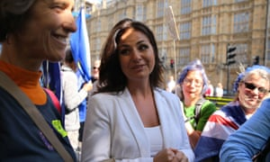 Heidi Allen with protesters outside the Houses of Parliament
