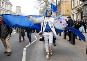 An EU flag and coordinated hair for this protester in London