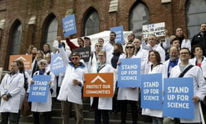 Scientists rally during the American Geophysical Union meeting.