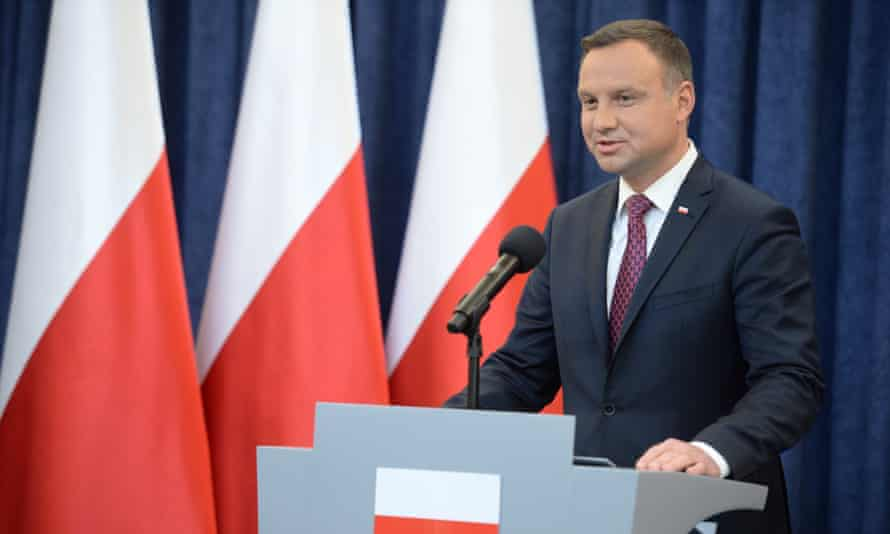 The president, Andrzej Duda, gives a speech about the bill on Poland's supreme court in Warsaw