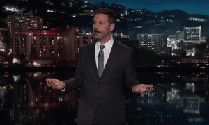 Jimmy Kimmel: 'Donald Trump became the first US president ever to congratulate himself on making a fast-food order.'
