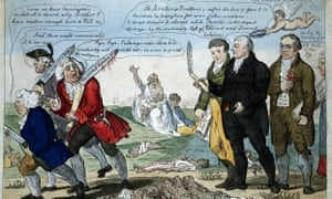 Edward Jenner, pioneer of smallpox vaccine, and two colleagues take out anti-vaccination opponents, with the dead scattered at their feet. Colored engraving by Isaac Cruikshank, 1808.