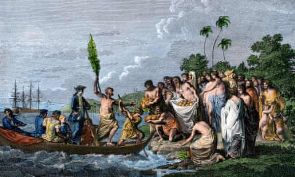 James Cook landing in the Friendly Islands in the 1770s to be greeted by Tonga natives bearing fruit.
