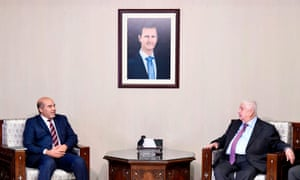 Syria's foreign minister, Walid al-Moallem, meets Libya's eastern government deputy prime minister, Abdul Rahman al-Ahiresh in Damascus.