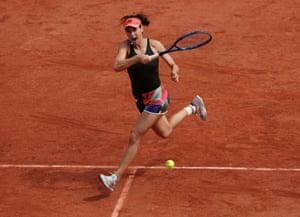 Sorana Cirstea plays a forehand winner.