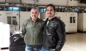 Lefteris Arabakis with his father Vangelis at the fish market in Keratsini.