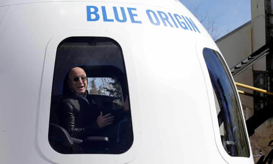 Amazon and Blue Origin founder Jeff Bezos addressing the media about the New Shepard rocket booster and crew capsule mockup in April 2017.