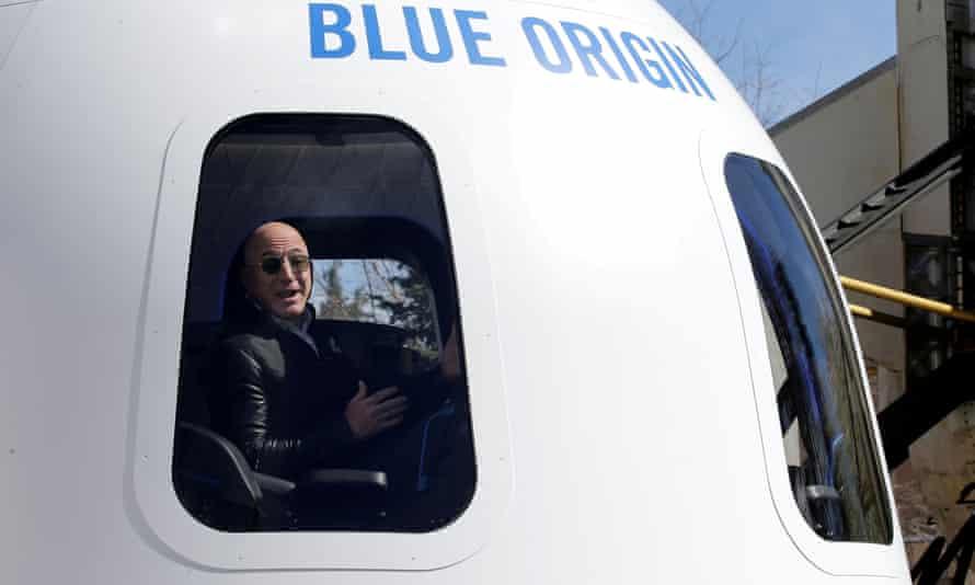 Bezos in a Blue Origin  crew capsule mockup in 2017.