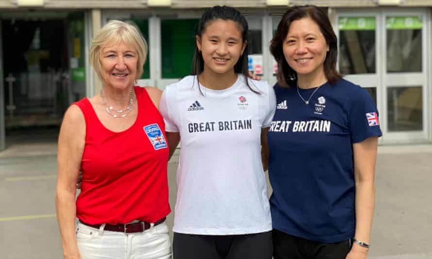 Coaches Gill Snode & Coaches Gill Snode and Chen Lin with Team GB diver Eden Cheng at the National Sports Centre this week.