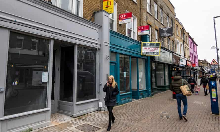 A row of closed shops and restaurants in south London.