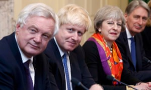 Theresa May, pictured with David Davis, Boris Johnson and Philip Hammond, is likely to have a difficult time handling extreme outlooks on Brexit within her cabinet.