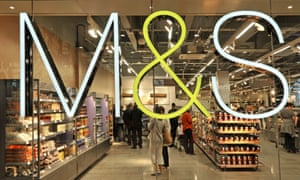 Marks & Spencer sign on window of food hall.