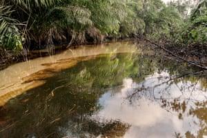 An oil spill in Bayelsa, Nigeria, 8 June 2018