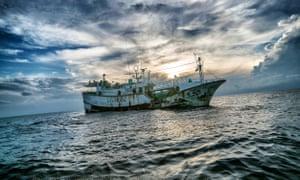 rusty vessel at sea