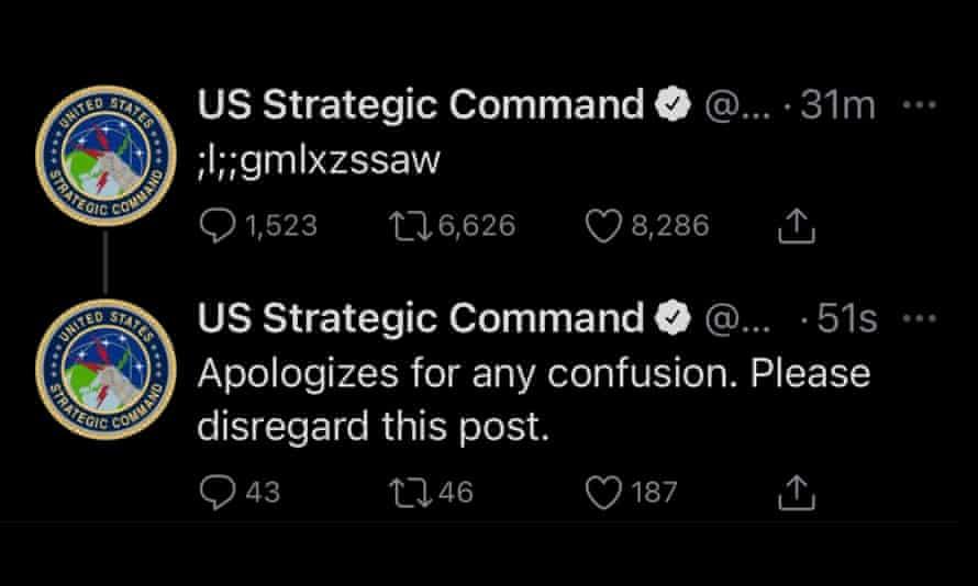 The US military's gibberish tweet.