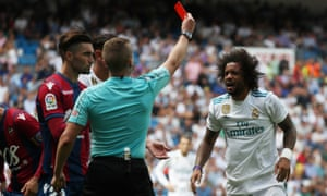 Real madrid held to surprise draw by levante and marcelo sees red real madrids marcelo reacts with shock to being shown a red card by alejandro jos hernndez stopboris Image collections